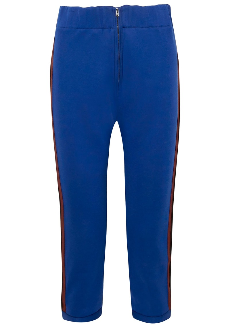 Marni Woman Cropped Striped Cotton-blend Jersey Slim-leg Pants Cobalt Blue