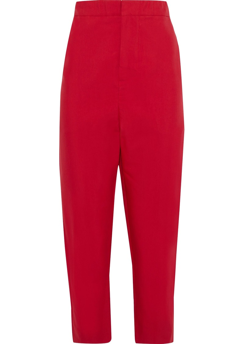 Marni Woman Cropped Twill Tapered Pants Red