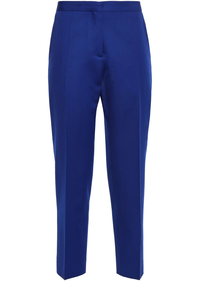 Marni Woman Cropped Wool-twill Tapered Pants Royal Blue