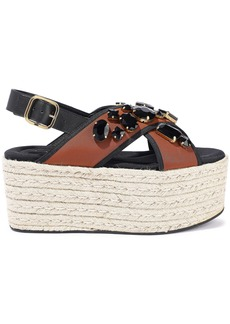 Marni Woman Crystal-embellished Neoprene Platform Espadrille Sandals Brown