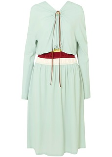 Marni Woman Cutout Gathered Crepe Midi Dress Mint