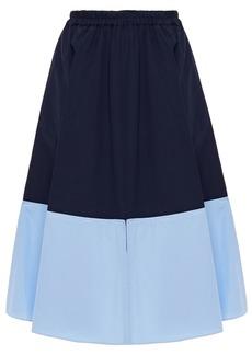 Marni Woman Cutout Two-tone Cotton-poplin Skirt Midnight Blue