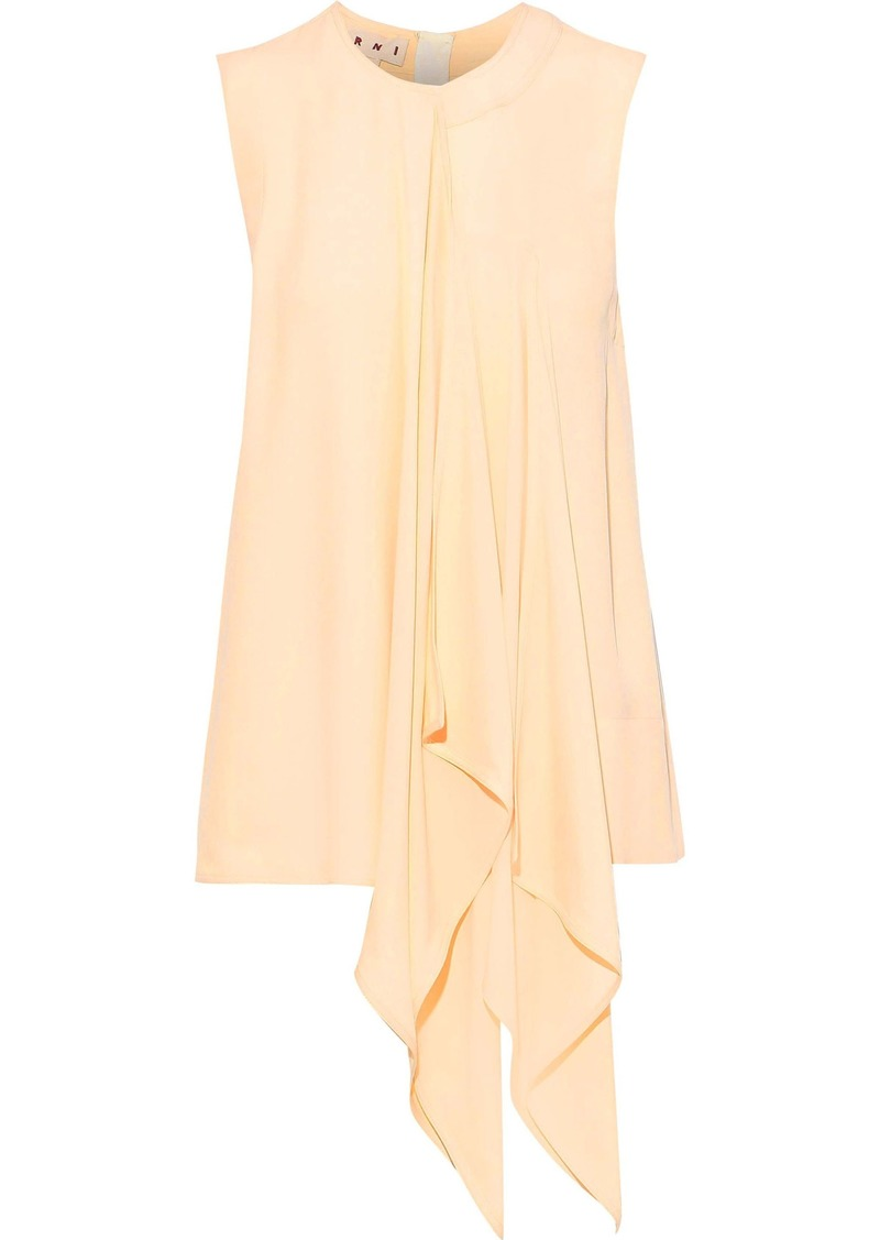 Marni Woman Draped Crepe De Chine Top Pastel Yellow