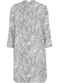 Marni Woman Draped Printed Cotton-poplin Dress Light Gray