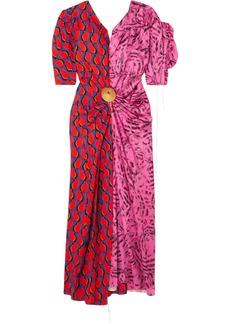 Marni Woman Embellished Paneled Printed Satin Midi Dress Multicolor