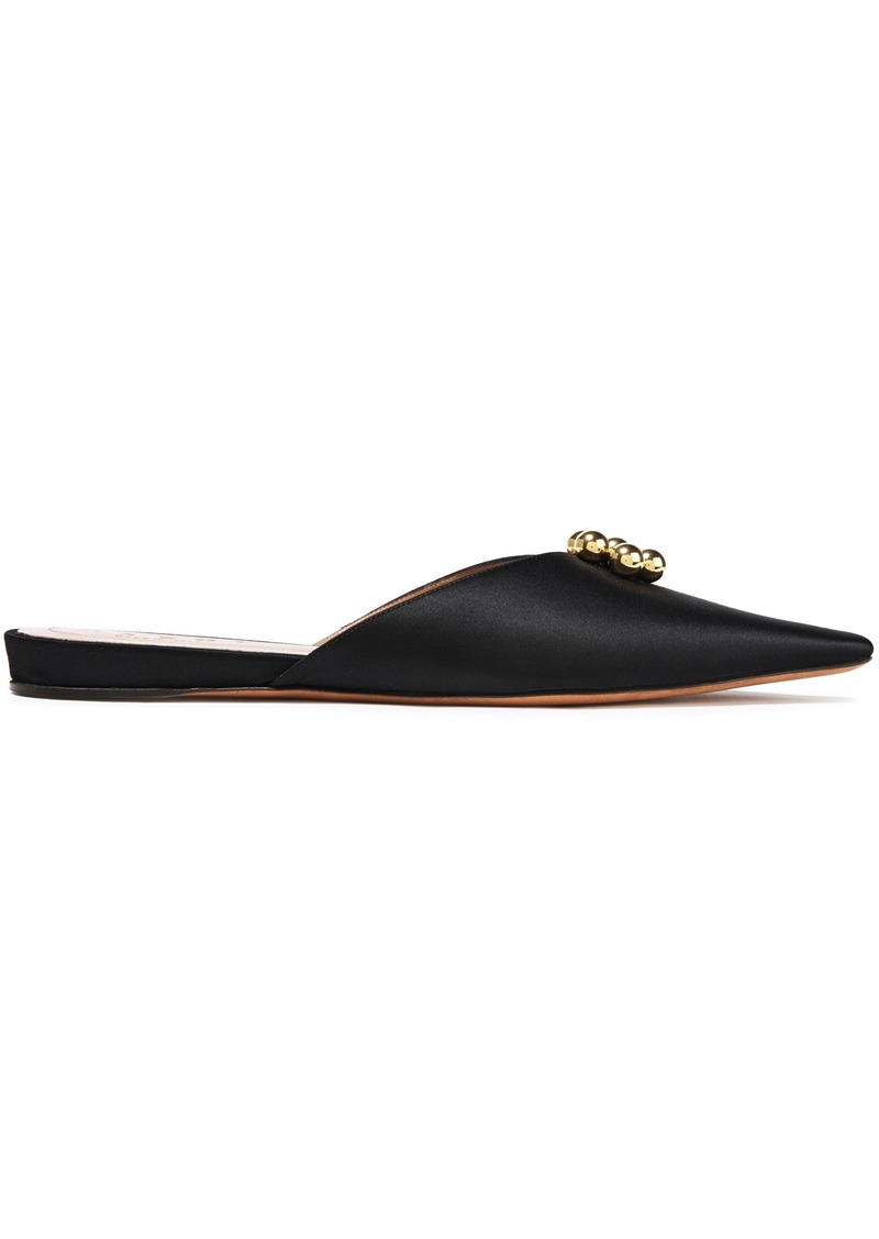 Marni Woman Embellished Neon Satin Slippers Black