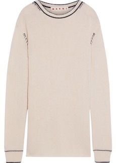 Marni Woman Embroidered Cashmere Sweater Cream