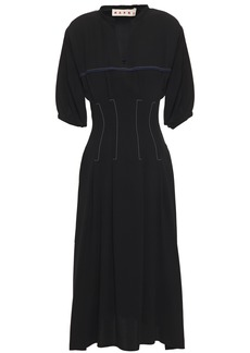 Marni Woman Embroidered Crepe Midi Dress Black