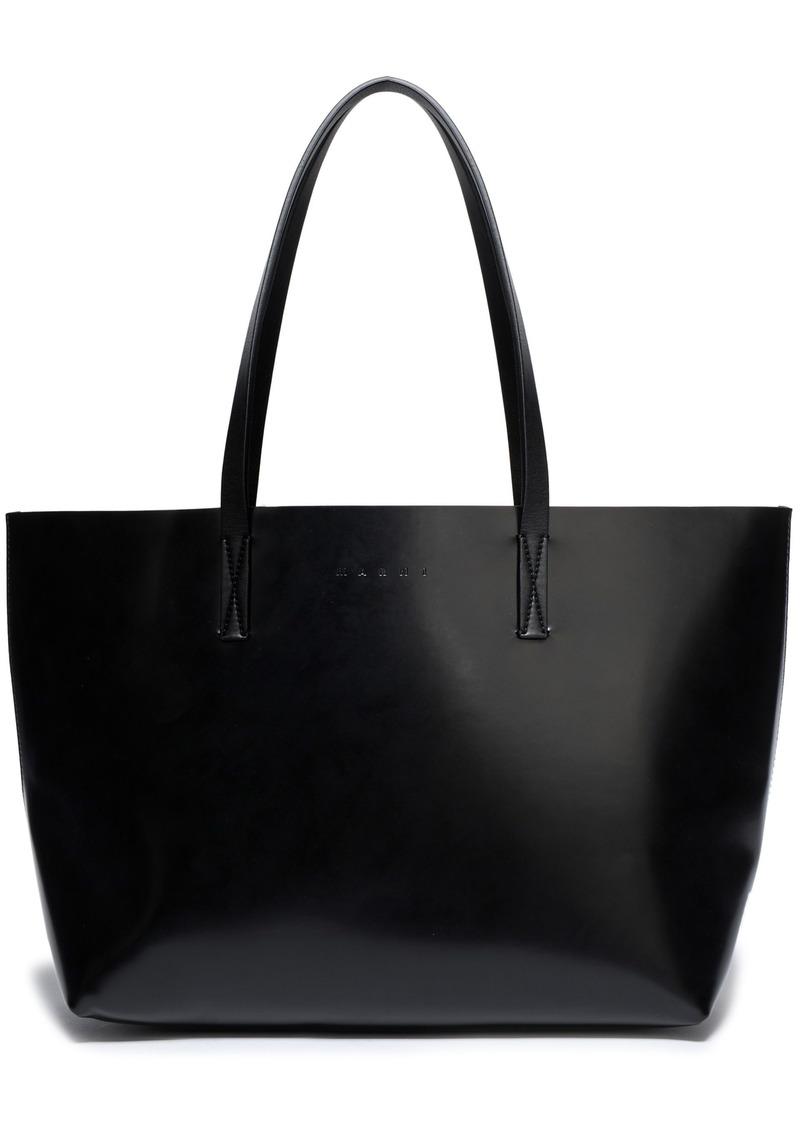 Marni Woman Faux Leather Tote Black