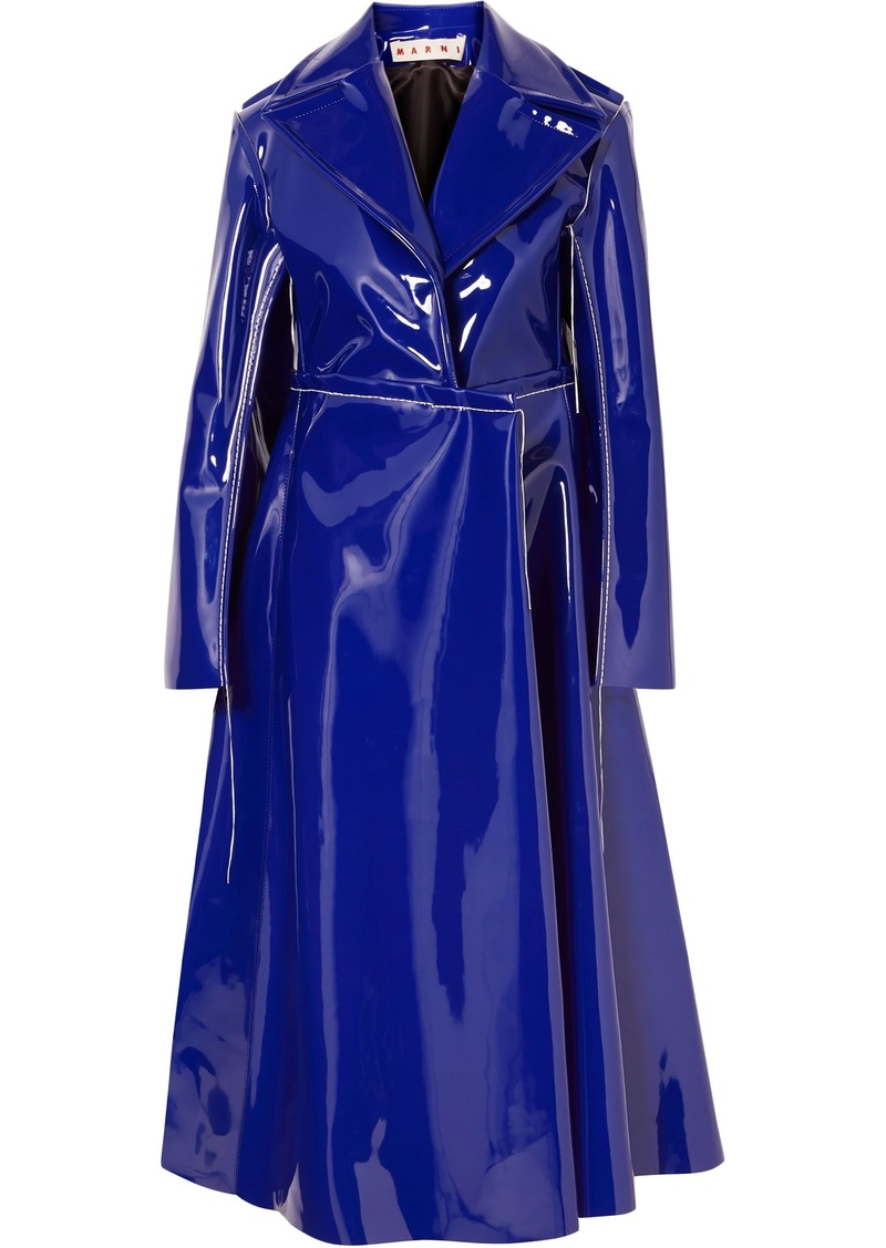Marni Woman Faux Patent-leather Trench Coat Royal Blue