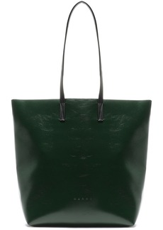 Marni Woman Faux Textured-leather Tote Dark Green