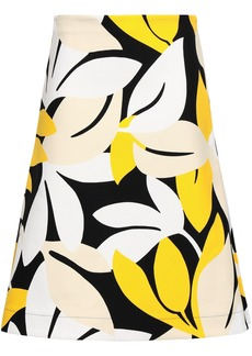 Marni Woman Flared Printed Cotton-blend Canvas Skirt Yellow