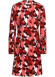 Marni Woman Floral-print Cotton-gabardine Coat Coral