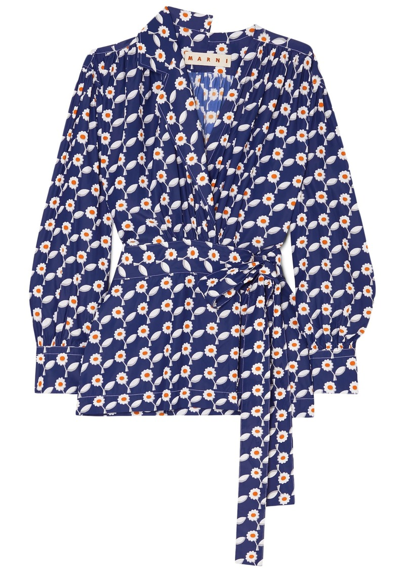 Marni Woman Floral-print Crepe De Chine Wrap Blouse Blue