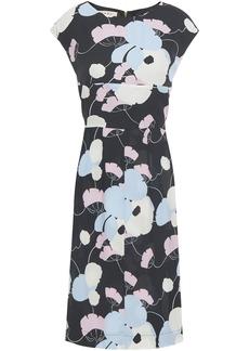 Marni Woman Floral-print Crepe Dress Black
