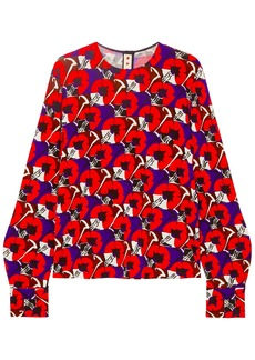 Marni Woman Floral-print Jersey Blouse Red