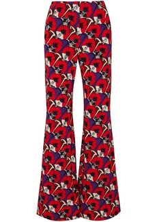 Marni Woman Floral-print Jersey Flared Pants Red