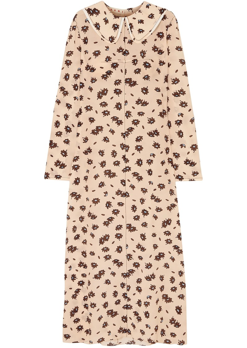 Marni Woman Floral-print Silk-blend Crepe Maxi Dress Beige