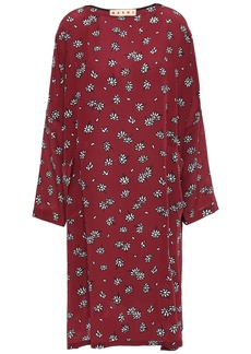 Marni Woman Floral-print Silk Crepe De Chine Dress Claret