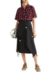 Marni Woman Floral-print Silk-crepe Shirt Plum