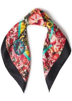 Marni Woman Floral-print Silk-satin Twill Scarf Black