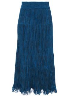 Marni Woman Frayed Mélange Ribbed Cotton Midi Skirt Cobalt Blue