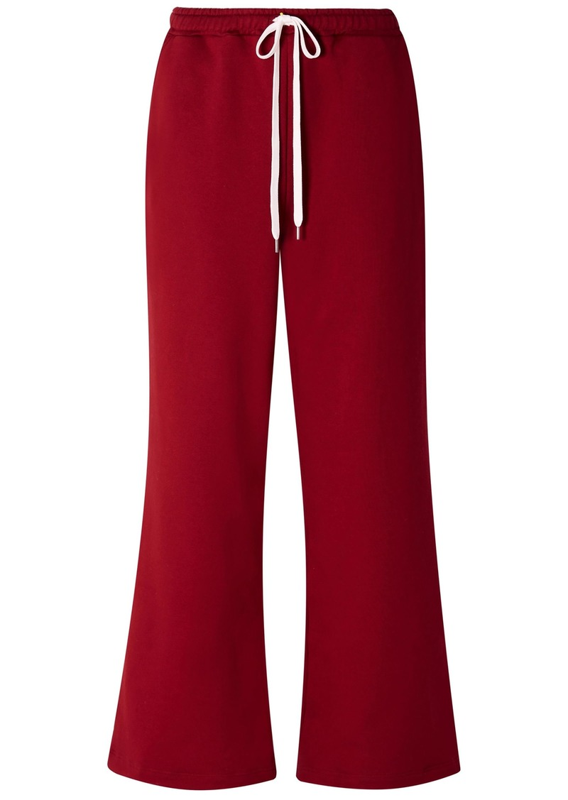 Marni Woman French Cotton-terry Wide-leg Track Pants Claret