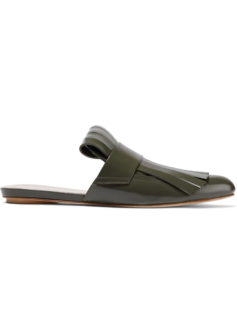 Marni Woman Fringed Glossed-leather Slippers Army Green