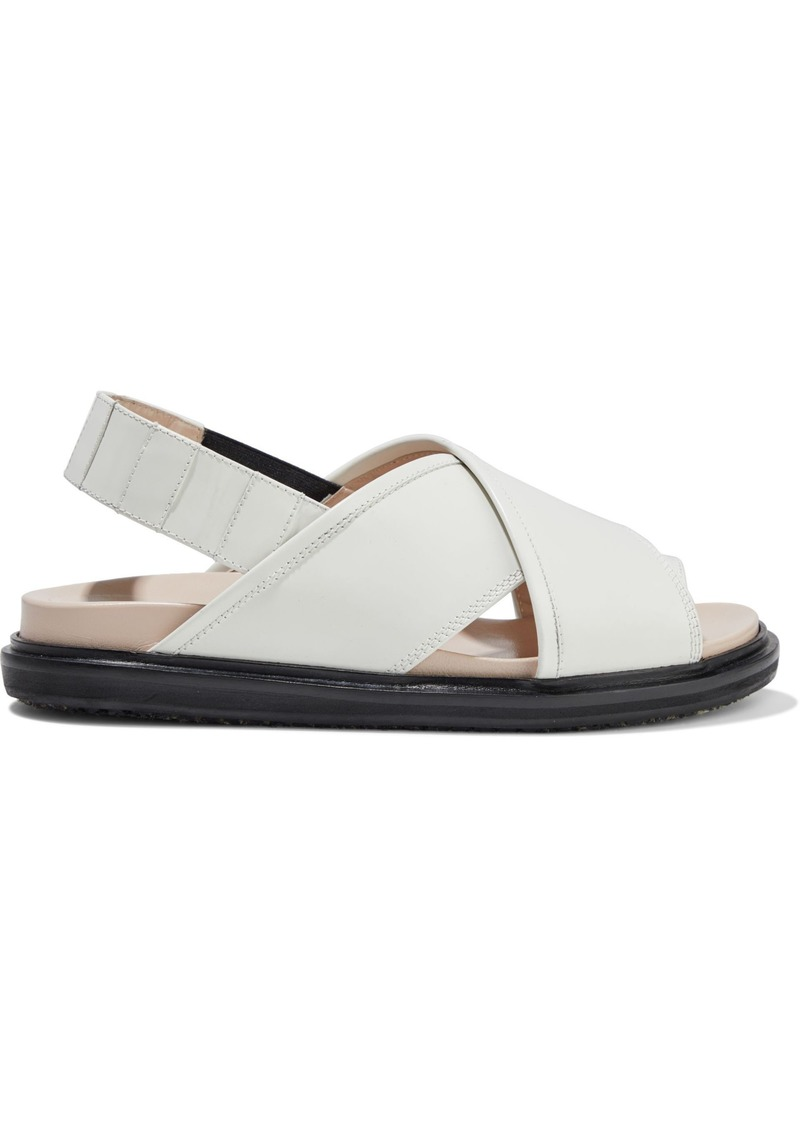 Marni Woman Fussbett Glossed-leather Slingback Sandals White