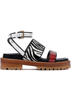 Marni Woman Fussbett Zebra-print Calf Hair Leather And Python Sandals Animal Print