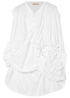 Marni Woman Gathered Cotton-jersey T-shirt White