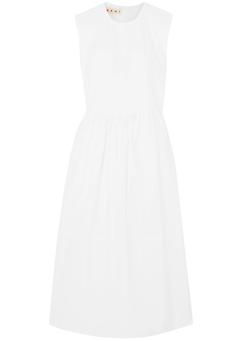 Marni Woman Gathered Cotton Midi Dress White