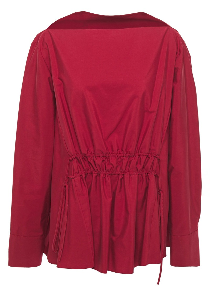 Marni Woman Gathered Cotton-poplin Blouse Claret