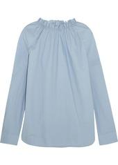 Marni Woman Gathered Cotton-poplin Blouse Light Blue
