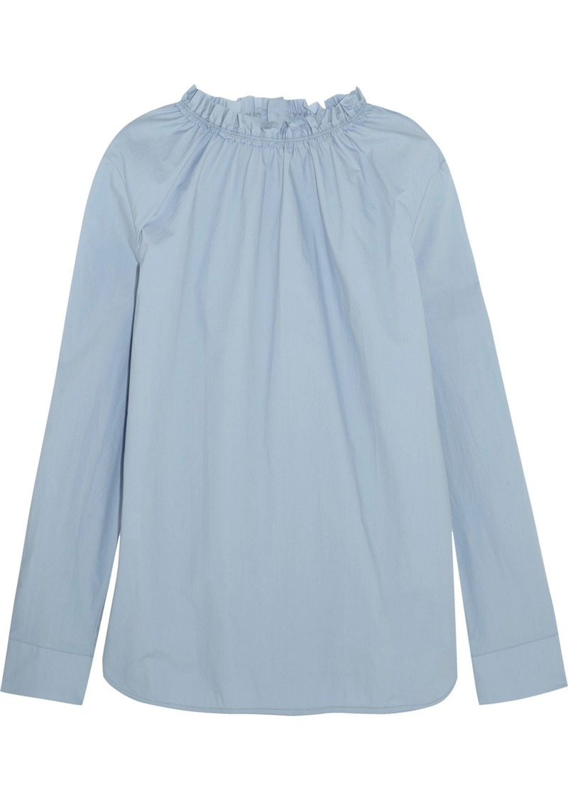 Marni Woman Gathered Cotton-poplin Blouse Light Blue