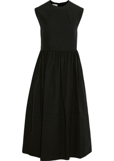 Marni Woman Gathered Cotton-poplin Midi Dress Black
