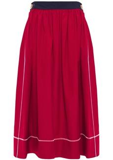 Marni Woman Gathered Cotton-poplin Midi Skirt Claret