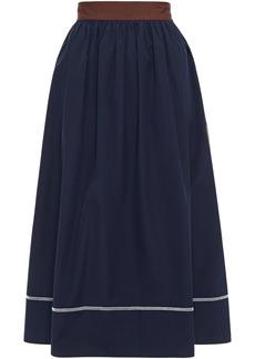 Marni Woman Gathered Cotton-poplin Midi Skirt Navy