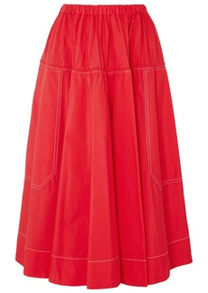 Marni Woman Gathered Cotton-poplin Midi Skirt Red