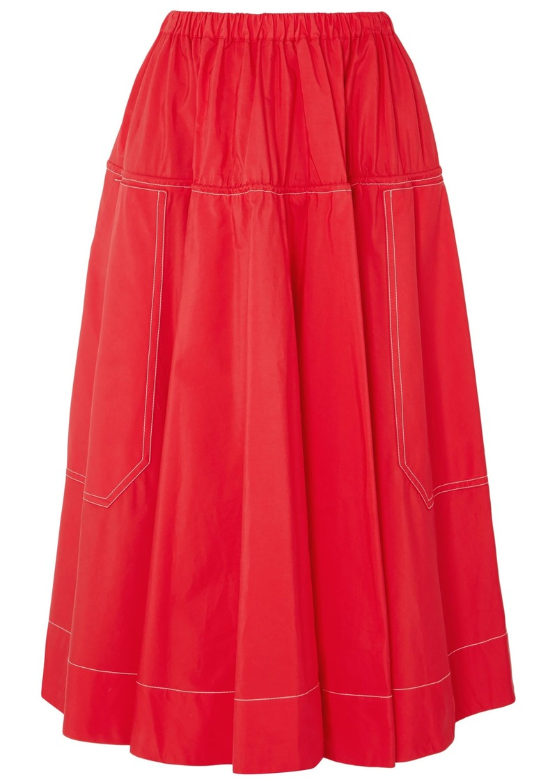 Marni Woman Gathered Cotton-poplin Midi Skirt Red