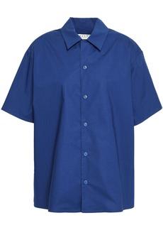 Marni Woman Gathered Cotton-poplin Shirt Royal Blue