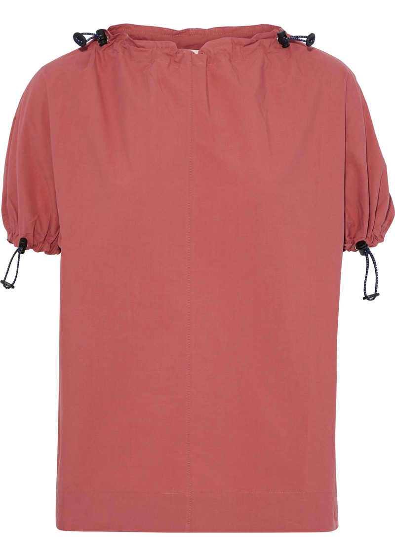 Marni Woman Gathered Cotton-poplin Top Brick