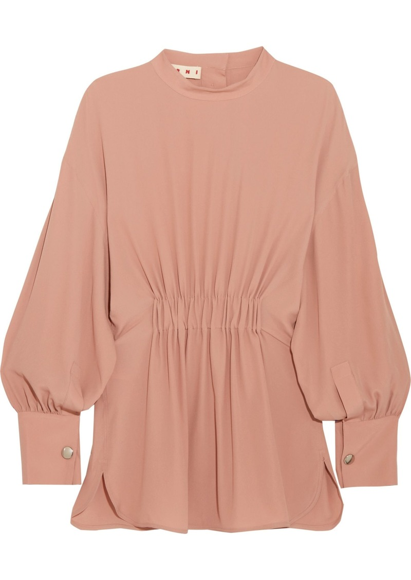 Marni Woman Gathered Crepe De Chine Blouse Antique Rose