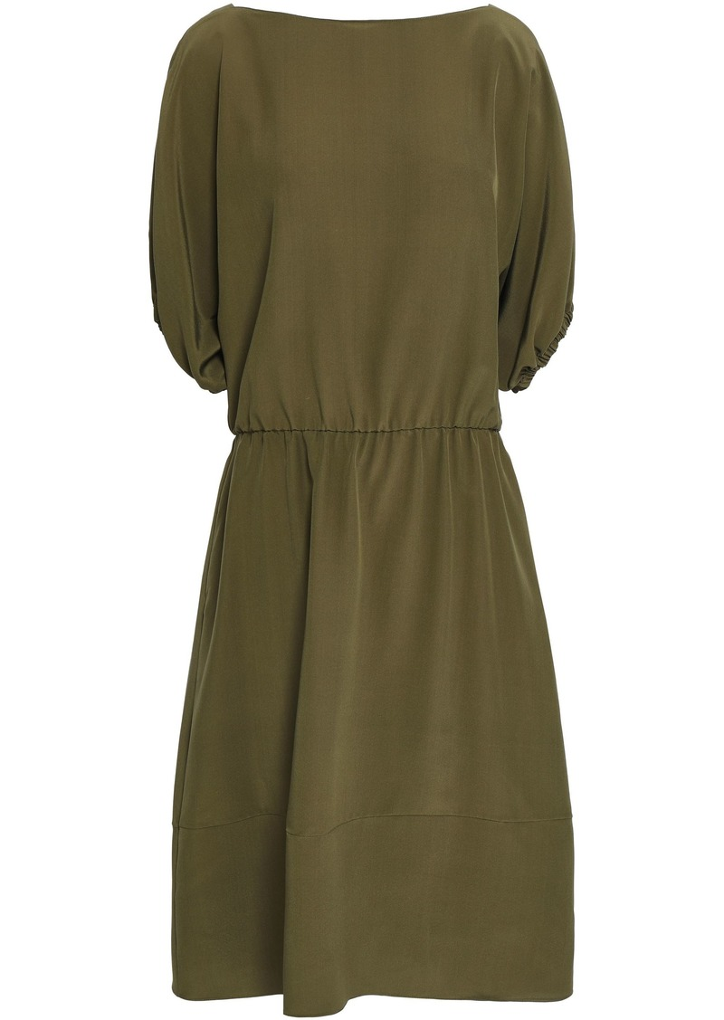 Marni Woman Gathered Crepe De Chine Midi Dress Army Green