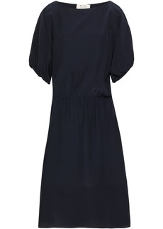 Marni Woman Gathered Crepe De Chine Midi Dress Midnight Blue