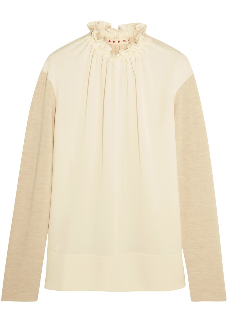 Marni Woman Gathered Crepe-paneled Wool-blend Top Ecru
