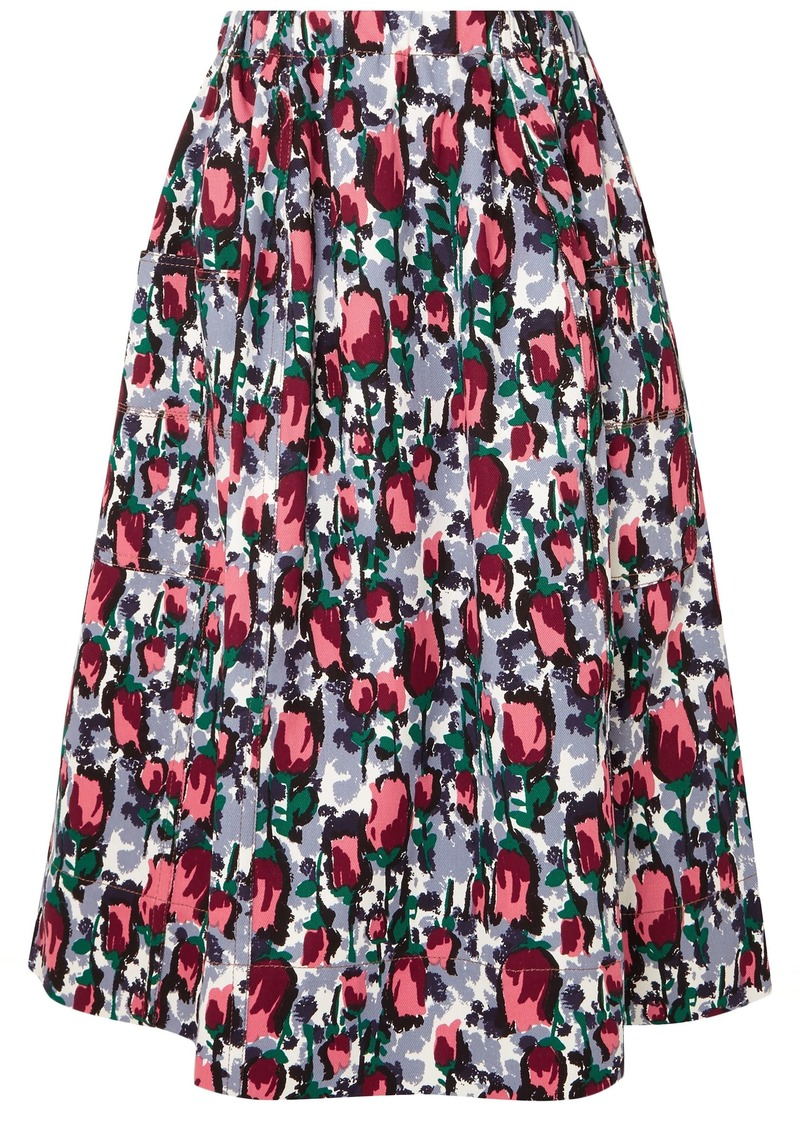 Marni Woman Gathered Floral-print Cotton-drill Midi Skirt Lavender