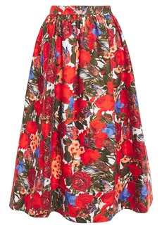 Marni Woman Gathered Floral-print Cotton-gabardine Midi Skirt Red