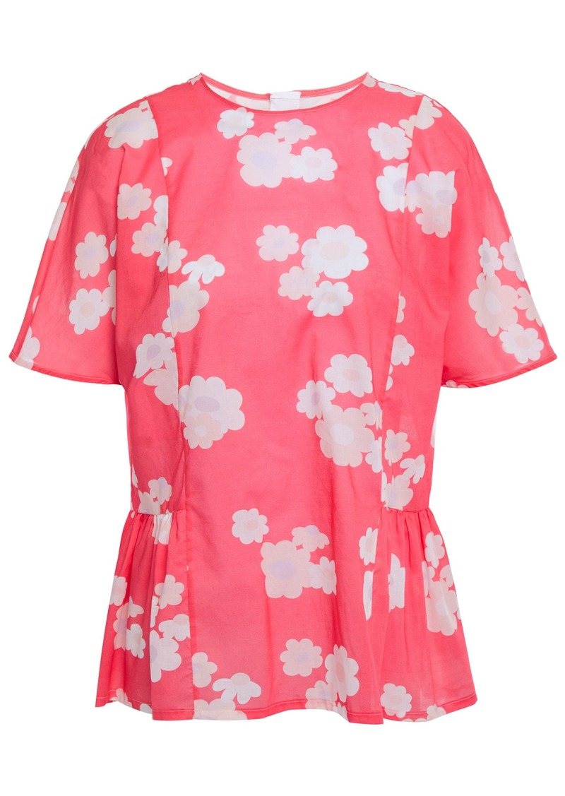Marni Woman Gathered Floral-print Cotton-voile Peplum Top Coral