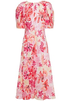 Marni Woman Gathered Floral-print Ramie Midi Dress Baby Pink